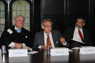 Professor Luke Milligan, far right, joined the James Wilson Institute for a seminar on natural rights at the University of Chicago.