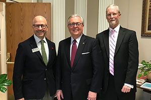 Dean Colin Crawford, Chief Justice John D. Minton Jr. and John Meyers of the KBA