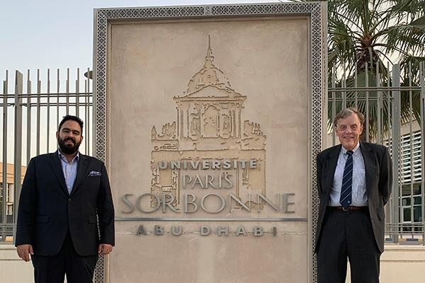 Professor Russ Weaver (right) and Mohamed Kayal, academic coordinator at the Sorbonne University Abu Dhabi in the United Arab Emirates.