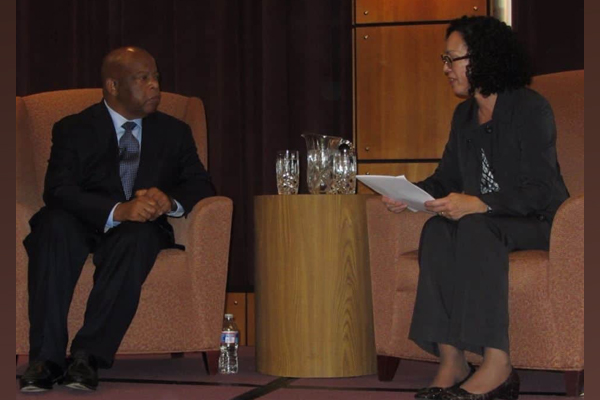 Professor Enid Trucios-Haynes interviewed Rep. John Lewis at a 2013 Kentucky Author Forum event.