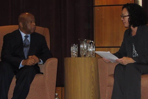 Professor Enid Trucios-Haynes interviewed Rep. John Lewis at a 2013 Kentucky Author Forum event.