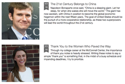 McConnell Scholars share their experiences in the McConnell Center blog.