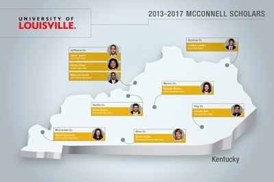 Geographic distribution of McConnell Scholars' Hometowns - Class of 2017
