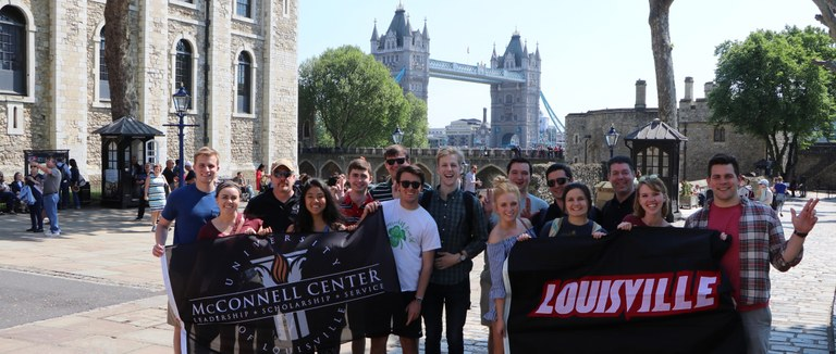 Group of students in front of London Bridge.