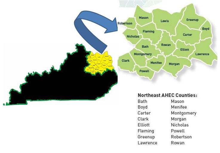 NE AHEC Map with counties