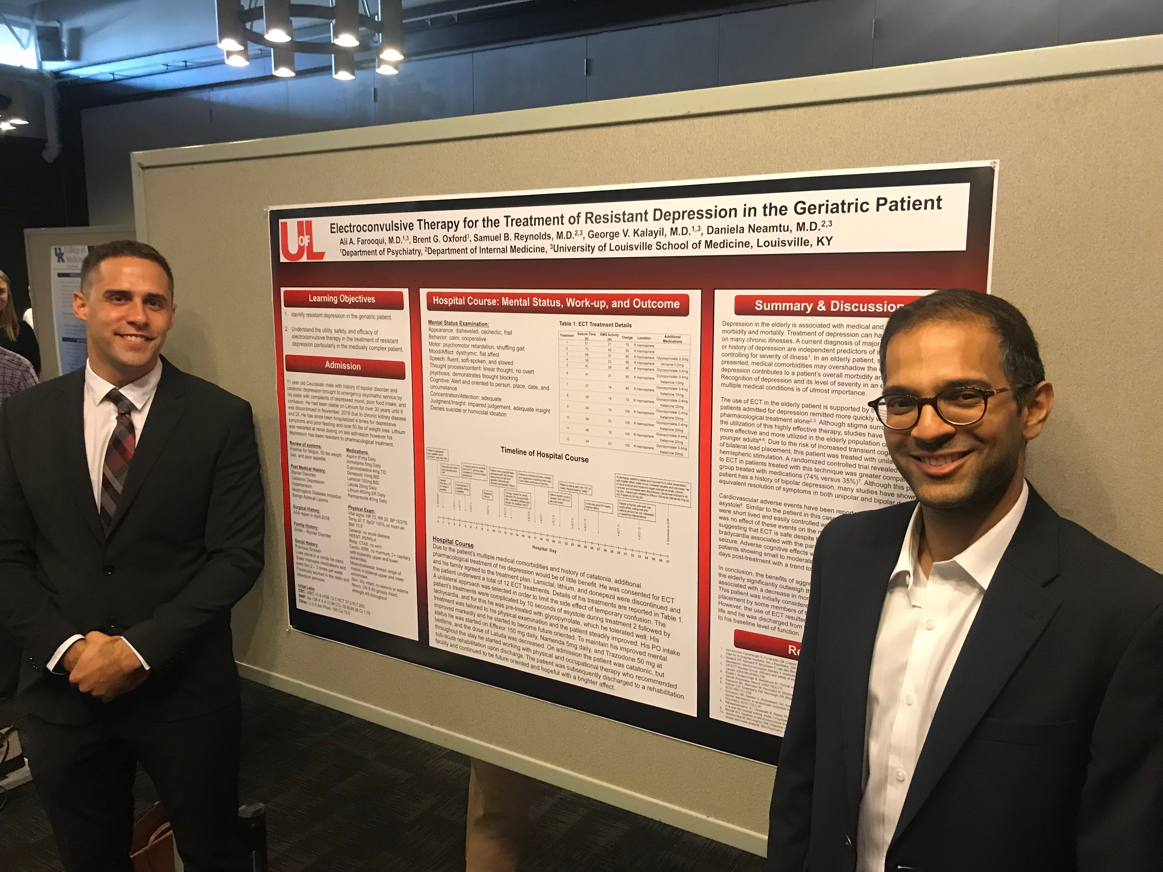 Ali Farooqui and George Kalayil Poster Presentation on Electroconvulsive Therapy for the Treatment of Resistant Depression in the Geriatric Patient