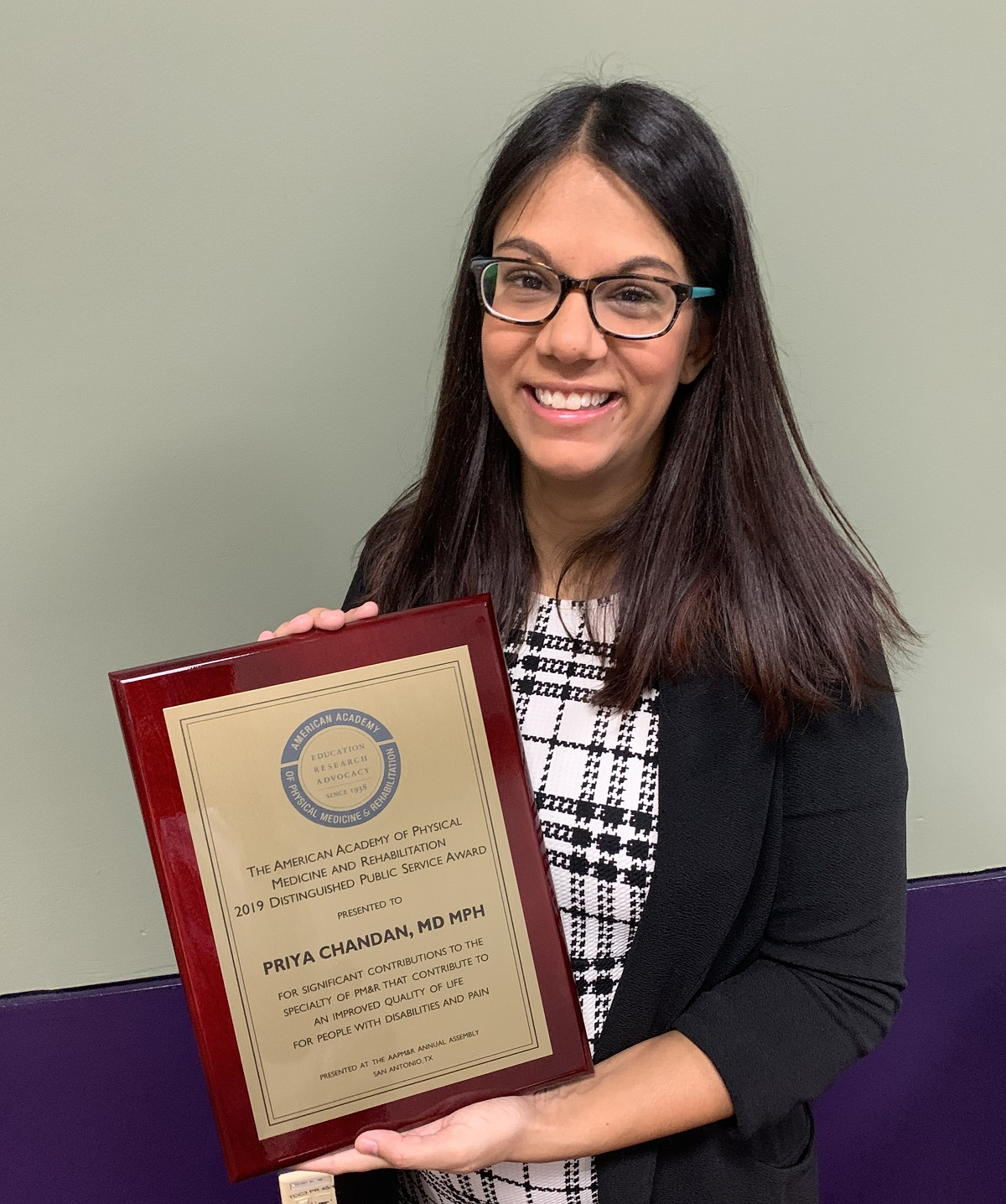 Priya Chandan, M.D., M.P.H., recognized by AAPM&R for work in inclusive health for people with intellectual disabilities