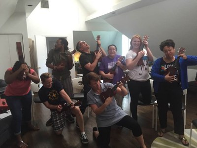 LGBT Center Staff having fun at a retreat