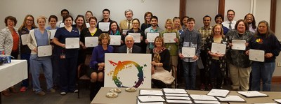 [Graduates of the 2015-16 LGBT Health Certificate Program with the Deans of Nursing, Dentistry and Medicine]
