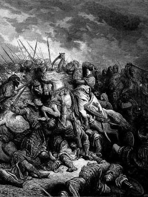medieval battle scene drawn in black and white