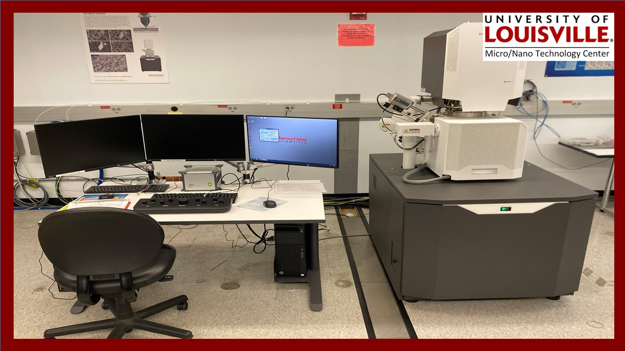 The Huson Imaging & Characterization laboratory contains the new Thermo-Fisher Scientific Apreo C Scanning Electron Microscope, scanning probe and an infrared thermal imaging microscope.