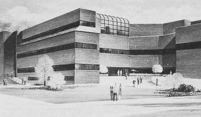 Drawing of Belknap campus School of Music building