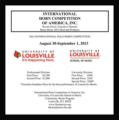 AN INTERNATIONAL COMPETITION AND A NON-PROFIT ORGANIZATION Founded 1981 August 30-September 1, 2013  University of Louisville School of Music