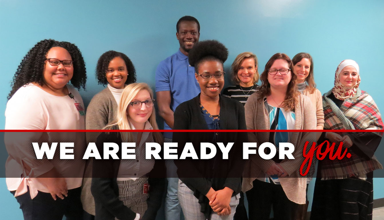 PhD in Nursing banner picturing students with a text overlay that says We are Ready for You.