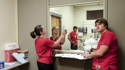 Three students participating in a simulated nursing scenario