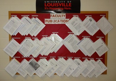 bulletin board with publications