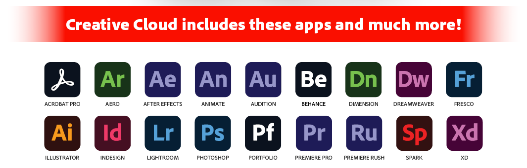 Creative Cloud Includes these Apps Image