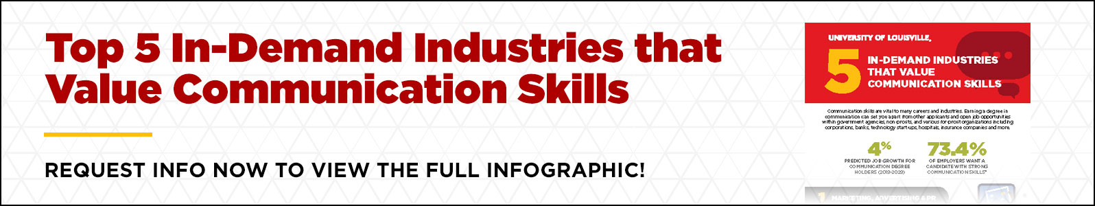 Click to view infographic and find out the value of Communication Degree, 5 Industries where you can start your communications career