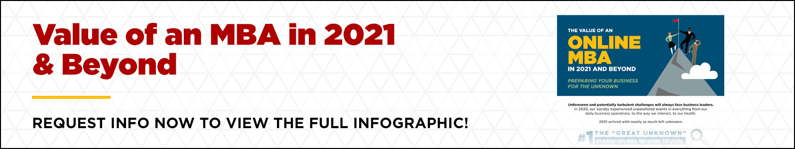 Click here to review the UofL online MBA infographic and discover the benefits of earning your MBA in 2021 and beyond
