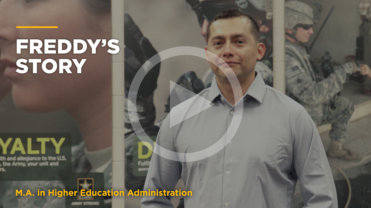 Online learning video - Freddy's Story: Online M.A. in Higher Ed Admin