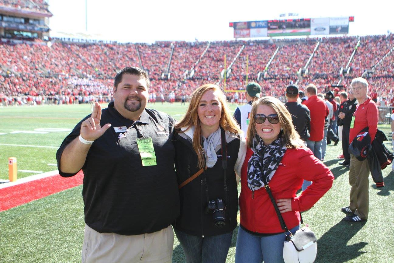 image of Glenn, Katie, and Catherine (intern) at Family Weekend 2016.