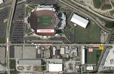 map of Family Weekend tailgate location at Lynn Stadium