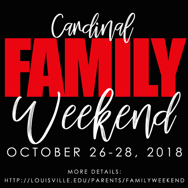 Cardinal Family Weekend October 26-27, 2018 buy tickets: http://bit.ly/ULFamWknd18