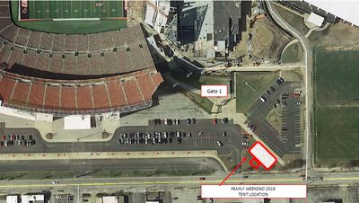 image of the tailgate layout for the 2018 family weekend. it will be located near gate one of Cardinal Stadium