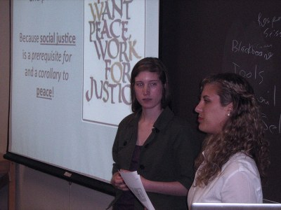 Two women presenting in classroom