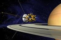 Image of Cassini orbiting Saturn