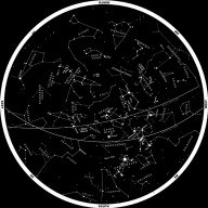 Image of constellations marked in night sky