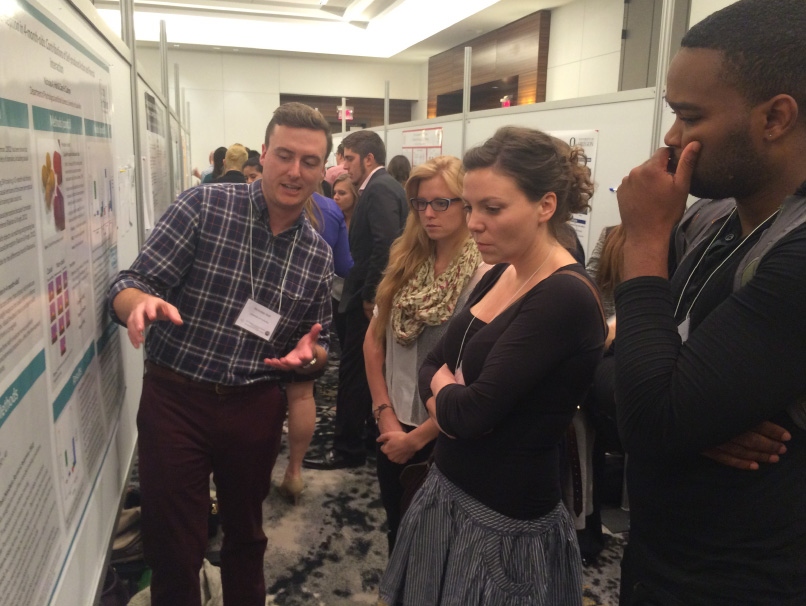 Grad student presenting research at Cognitive Development Society biennial meeting 2015