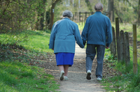 View of behind older couple walking down shady sidewalk holding hands.