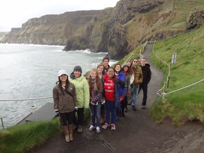 Picture of Students Walking to Carrick-a-Rede Rope Bridge, Northern Ireland