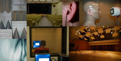 Collage of pictures of different acoustic environments (concert hall, classroom, sound-treated booth, etc.)