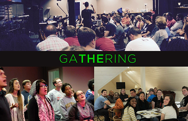 Gathtering - Group lecture, group singing, students gathered around tables