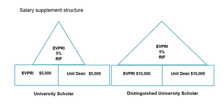 Diagram of University Scholar & Distinguished Scholar Salary Supplement Structure