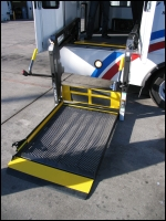 Wheelchair lift deploy to ground from paratransit vehicle