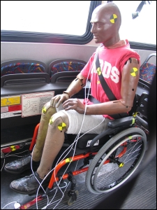 ATD seated in manual wheelchair on transit bus