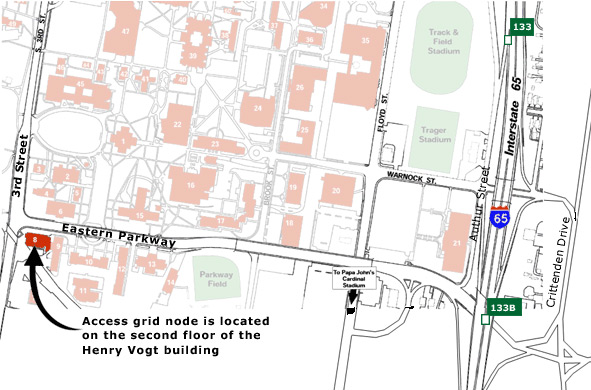 Map showing 3 ways to find the Henry Vogt Building