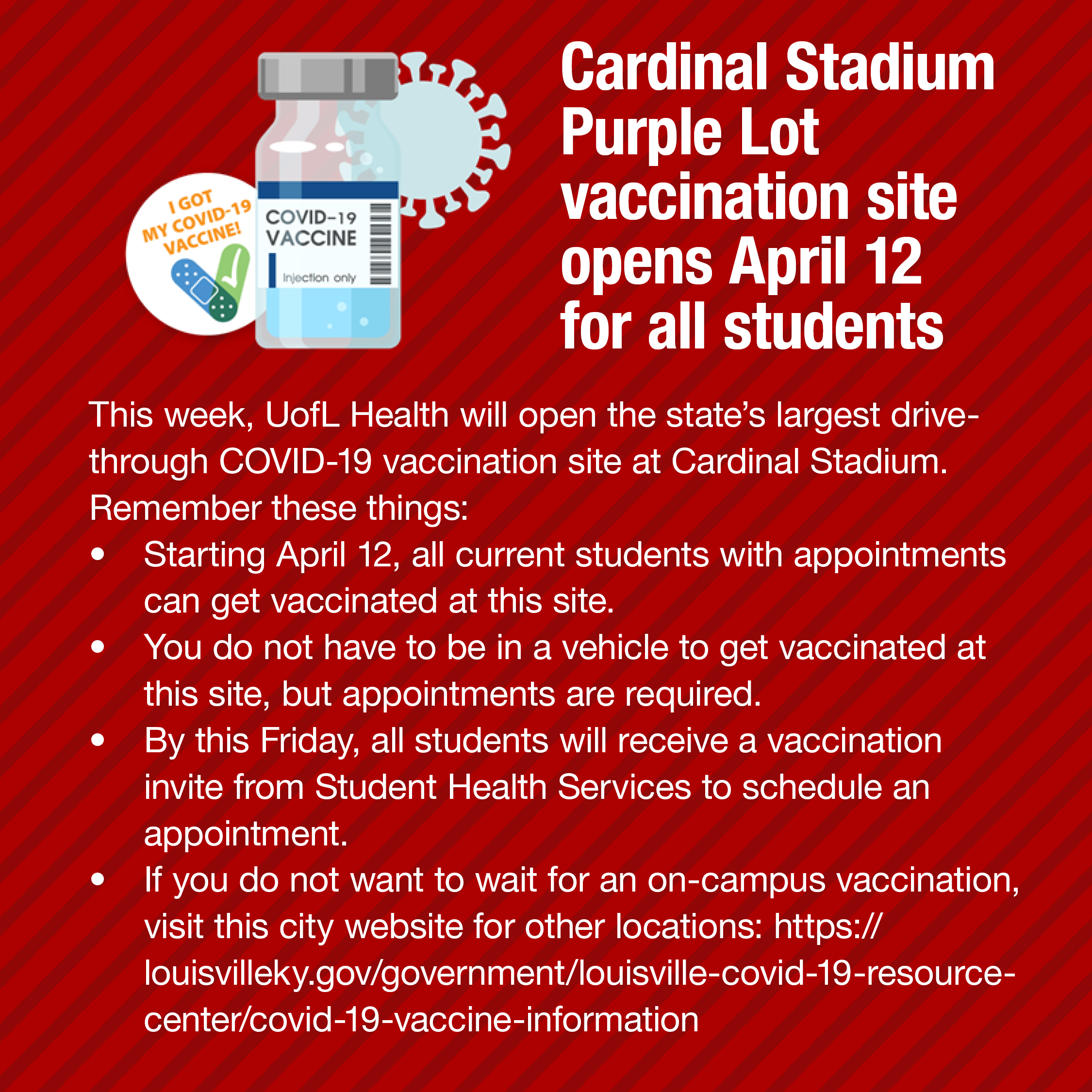 Cardinal Stadium Covid Vaccination Site for Students
