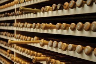racked wall of bats with handles out