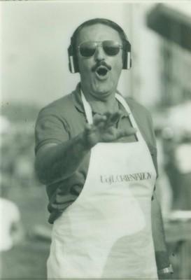 Harold grilling outside