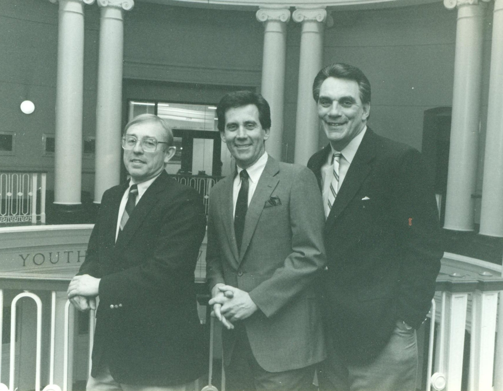 Bruce Bursack, Fred Rhodes and Denny Golden posing in Grawemeyer Hall