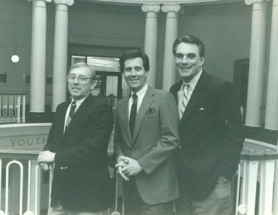 Bruce Bursack, Fred Rhodes and Denny Golden posing in Grawemeyer Hall