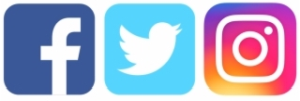 logos of Facebook, Twitter, and Instagram.