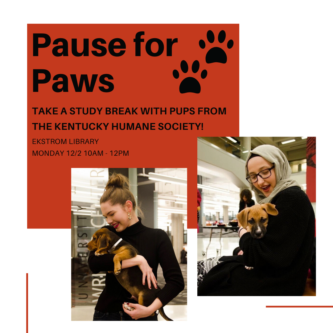 pause for paws event announcement with two images of students holding puppies