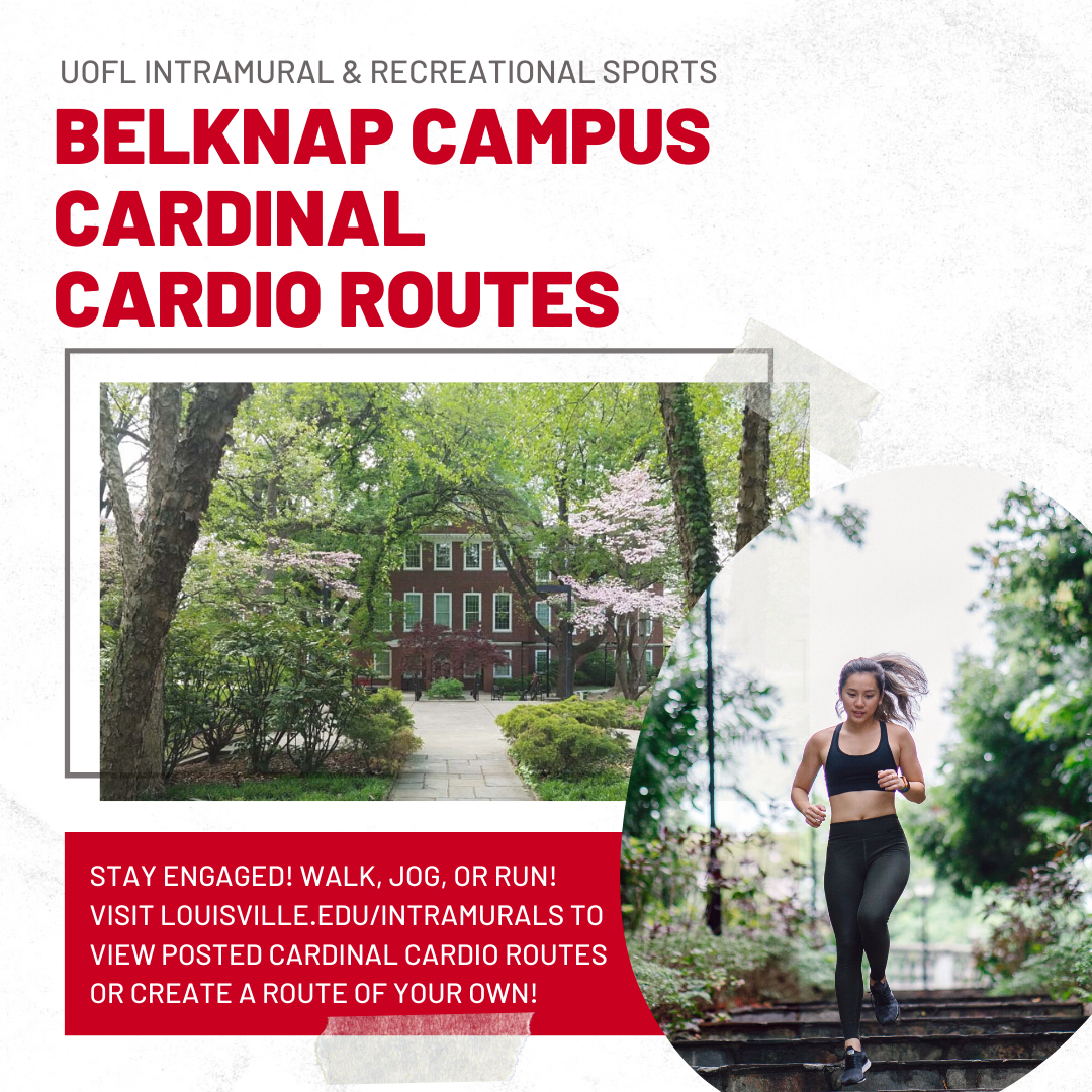 image of belknap campus cardio routes featuring a picture of a tree lined walk on the interior of the campus with an inset of a female in work out attire jogging towards the viewer
