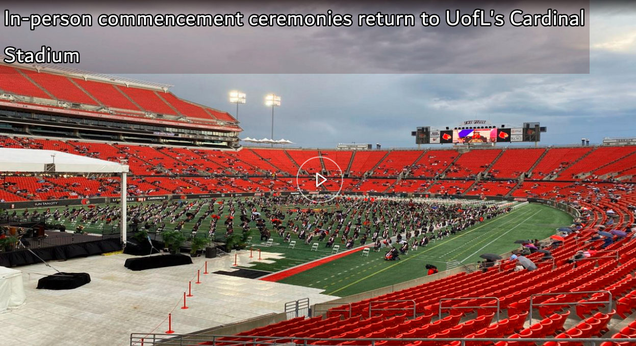 Commencement Tent set-up on football field.