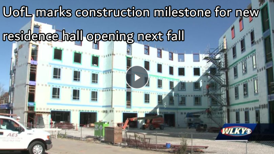 UofL marks construction milestone for new residence hall opening next fall